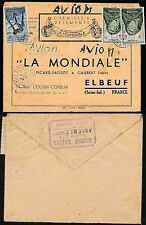 FRENCH WEST AFRICA 1949 AGNIBILEKROU...LA MONDIALE ADVERT ENV.CLOTHING...AIRMAIL