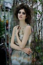 H&M Conscious Khaki Gold Pattern Embroidered Beaded Tulip Dress UK 8 Small S 34