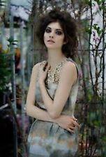H&M Conscious Khaki Gold Pattern Embroidered Beaded Tulip Dress UK 12 Medium 38
