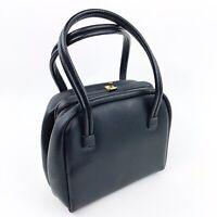 Vtg Women Black Leather Square Box Purse Handbag Top Handles Mid Century 50s 60s