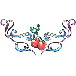 """""""Lower Back"""" Temporary Tattoo, Red Cherries, USA Made"""