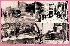 Postcard size Tram Photos ~ Chatham - 4 Street Scenes early 1900s - Car 16 etc