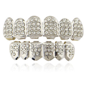 Fit Hip Hop Grills Gold Silver Color Top Bottom Set ICED CZ Bling Teeth Grillz