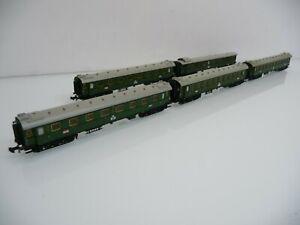 Minitrix N 1:160  5 Schnellzugwagen grün DR Ep II mit Innenbeleuchtung