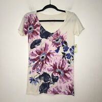 Lucky Brand Womens Cream and Purple Floral T Shirt Size XS NEW