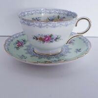 Vintage Shelley Crochet Green Tea Cup and Saucer Made in England Fine Bone China