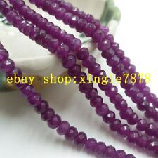 """Natural 4x6mm Purple Ruby Faceted Rondelle Gemstones Loose Beads 15"""" AAA"""