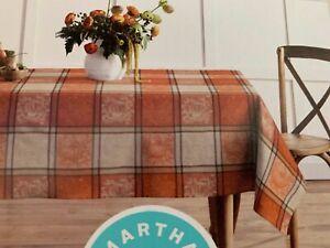 MARTHA STEWART 60X120 100% cotton orange/cream Fall plaid tablecloth NEW