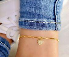 14k gold anklet, heart ankle bracelet, crystal anklet, gemstone anklet