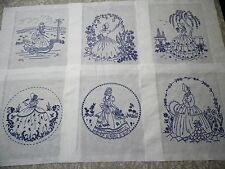 Set #10/ Southern Belle/Caroline Lady Stamped For Embroidery 6 Quilt Blocks Set