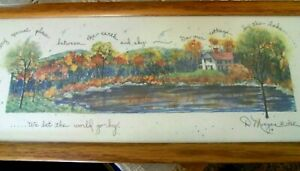 "D MORGAN Signed WATERCOLOR PRINT 'COTTAGE BY THE LAKE' c1995 Spectacular 17""x7"""