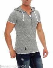 Carisma Kapuzen Shirt Sweat Hemd Kurzarm Herren TShirt Double Look Grau L