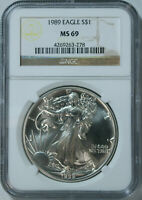 1989 Silver American Eagle Dollar / NGC MS69 / Mint State 69 🇺🇸 FRESH!!