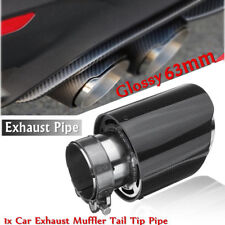 Carbon Fiber Auto Exhaust Pipe Muffler End Tail Tip Pipe Glossy Black Accessory