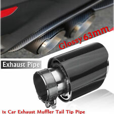 Carbon Fiber Car Exhaust Pipe Muffler Tail Tip Pipe Glossy Black 63-89mm Exhause