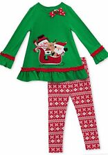 NWT~Boutique~RARE EDITIONS~BABY GIRL Christmas 2 pc Tunic & Leggings Set~3-6 mos