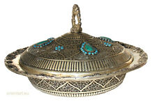 Silver Plated islamic hand hammered Lapis  Afghanistan fruit bowl No:E