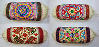 """Large Bolster Round Cylinder Cushion Cover Embroidery 10x24"""" Indian 24x60cm"""