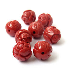 8Pcs Red Coral Flower Shape Beads Finding--Jewelry Accessory