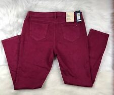 Tommy Hilfiger Women's Twill Plum Burgundy Skinny Jeans Jeggings Sz 14 36x31 👖