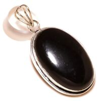 Black Onyx Oval Gemstone silver plated Handmade Bezel Set Inspired Pendant