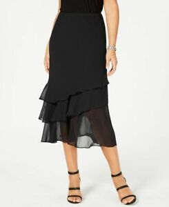 Alex Evenings Petite Tiered Chiffon Tea Length Skirt $75 Size PM, PXL #5B 1539 N