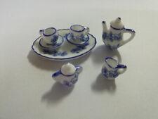 8 PCS Dollhouse Miniature Tea Set Ceramic Porcelain Dish/Cup/Plate Blue Flower