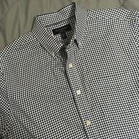 Banana Republic Untucked Shirt Men's Medium Long Sleeve Gingham Blue Oxford