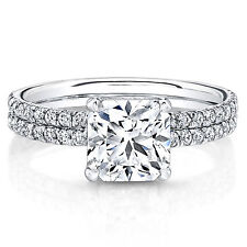 Fine 0.87 CT Real Natural Diamond Engagement Ring 14K White Gold Cushion Size M