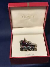 Monet Signed Enamel Hinged Sleigh Jeweled Trinket Pill Box 2009