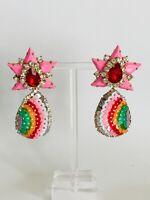 Stunning Major Designer Style Rhinestone Star Embellished Runway Drop Earrings