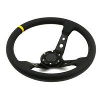 350mm Racing Deep Dish Steering Wheel Billet Aluminium Frame PVC fits OMP HUB