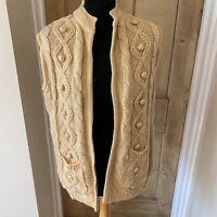 Vintage 70s BHS Aran Style Edge To Edge Cardigan Open Fits UK 10 12 Textured
