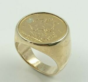 9ct Yellow Gold Sovereign ring with 1887 Gold Sovereign Coin (Pre-Owned)