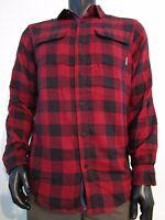 Mens S-M-L-XXL Columbia Falldale Double Cloth Plaid Long Sleeve Button Shirt Red