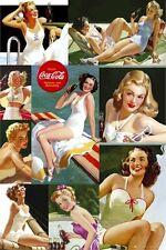 COCA COLA ~ COKE CLASSIC SWIMSUIT GIRLS COLLAGE POSTER 24x36 Retro Ad Soda Pop