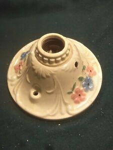 Vintage Antique Porcelain Ceiling Light Fixture Floral Single Socket Works