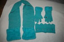Girls Teal 3 Pc Winter Set Crown Headband Fleece Lined Gloves Scarf w/ Pockets