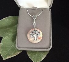 Tree of Life Natural Agate Gemstone Pendant Necklace Sterling Silver 18""