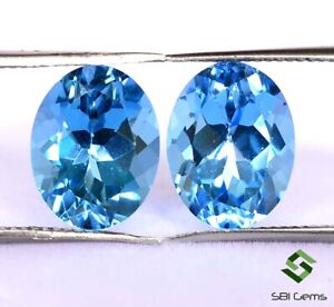 Certified Natural Swiss Blue Topaz Oval Cut Pair 10x8 mm Faceted Loose Gemstones
