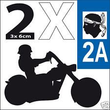2 stickers autocollants style plaque immatriculation moto Corse 2A
