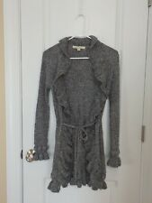 Debbie Morgan Long Open Ruffle Sweater Cardigan with Tie Marbled Gray Size Small