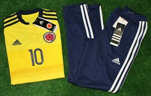 Adidas Colombia JAMES Home Soccer Jersey & Tiro 13 Training Pants, Youth M