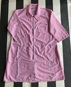 Vintage Pink Check Gingham Nylon Overall Pinny Apron Costume Retro 70s Size M