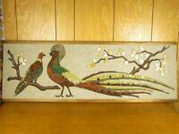 Mid Century Gravel Art Pheasants 1950s 60s Kitsch Wall Decor Art