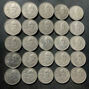 Old Mexico Coin Lot - 50 PESOS - 25 Heavy Uncommon Coins - Lot #M8