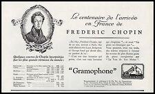 Publicité Gramophone La Voix de son Maitre  CHOPIN  vintage print ad  1931 - 10h