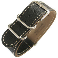20mm Fluco Germany 2-Piece Mens Black Leather MoD G10 Military Watch Band Strap