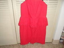Allen B. Juniors  red eyelet sun dress w/peplum , size 14 NWOT