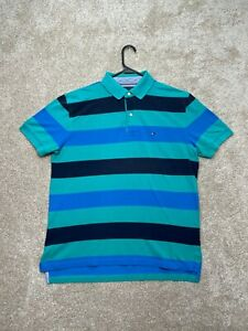 VINTAGE Tommy Hilfiger Short Sleeve Polo Shirt Mens Size Large Blue Colorblock
